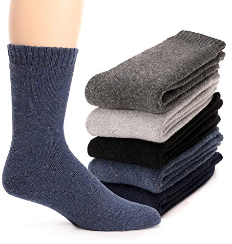 Mens Wool Socks Thermal Heavy Thick Fuzzy Soft Warm Winter Socks 5 Pairs (Solid Color)