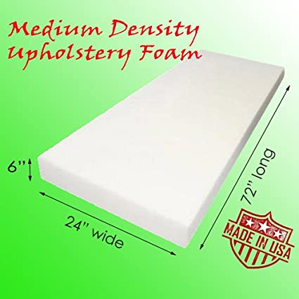 Made in USA Medium Density 3 Height x 24 Width x 72 Length AK-Trading Upholstery Foam Cushion Home or Commercial Use Seat Replacement Foam Cushion