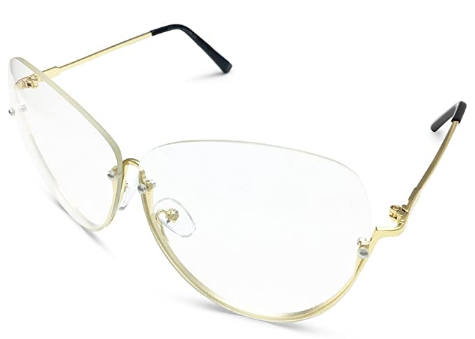 48dd694571 Image Unavailable. Image not available for. Color  OVERSIZE Semi-Rimless  VINTAGE RETRO Style Clear Lens Sun Glasses Gold Frame