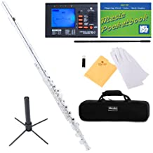 Mendini Closed/Open-Hole Key of C Flute, Silver Plated and Tuner, Case, Stand, Pocketbook - MFE-22S+SD+PB+92D