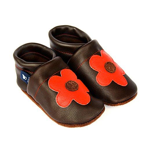 Blume Schluffen Leder Hauschuhe Pantoffeln ROT eu Lederpuschen 36 45 Größen Puschen DUNKELBRAUN mit Patschen pantau Schlappen qvAfxY