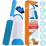 Lint Brush - Pet Hair Remover Brush for Furniture Dog & Cat Reusable Hair Remover Efficient Double Sided Animal Hair Removal Tool with Self-Cleaning Base Perfect for Clothing, C (Brush & R-Hand Glove)