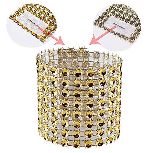 Diamond Cover Rhinestone Bling (SKY CANDYBAR Napkin Rings Rhinestone Napkin Rings Adornment for Wedding Party (50 PCS, Gold))