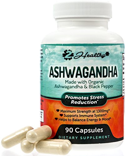 Organic Ashwagandha Capsules 1300mg - Premium Root Powder Supplement for Stress Relief, Anxiety Support & Mood -Better Absorption w/ Black Pepper Extract - 90 Vegan Pills