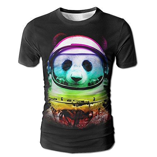 Men 3D Printed T-Shirt Creative Graphic Tees Short Sleeve Round Neck Top Tees Rainbow Space Panda Small