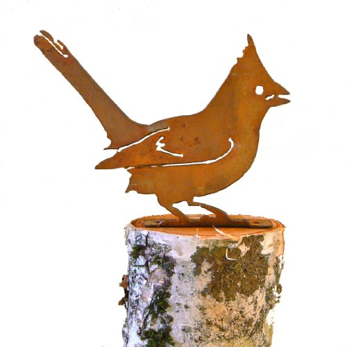 Elegant Garden Design Cardinal, Steel Silhouette with Rusty Patina (Statue Rusty)