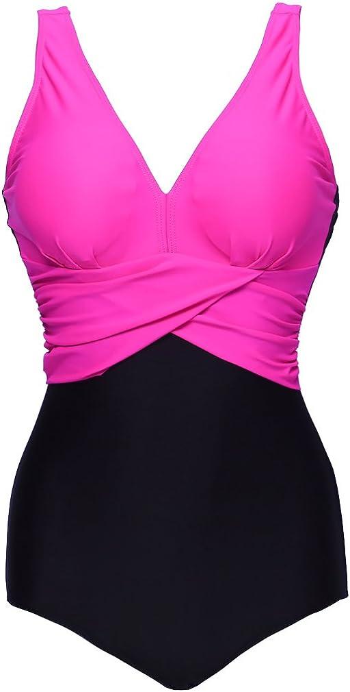 PANOZON Bikini Mujer Traje de Ba/ño Una Pieza para Playas Piscina con Cuatro Colores Opcionales Tallas Grandes