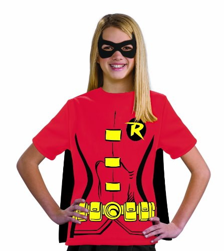 Justice League Child's Female Robin 100% Cotton T-Shirt - Large - Robin Costume Young Justice