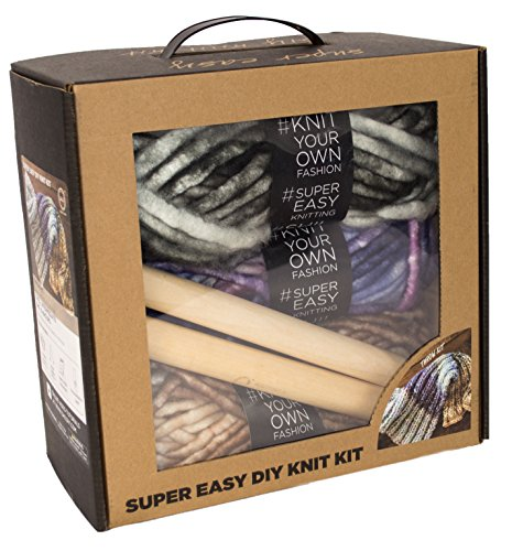 Chunky Knit Blanket DIY Kit, Super Soft Thick Yarn, Large Wood Knitting Needles