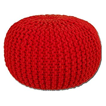 Round Cotton Knitted Pouffe Ball Large 50cm Foot Stool Braided Cushion Seat Rest Furniture Ottomans & Footstools
