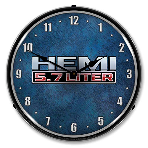 HEMI 5.7 Liter LED Wall Clock, Retro/Vintage, Lighted, 14 inch