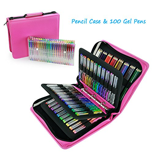 Gel Pen Case in Large Flexible Slot & 100 Pcs Gel Pen Bundle