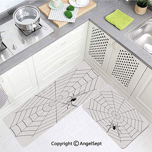 Non-Slip Soft Kitchen Mat,Toxic Poisonous Insect Thread Crawly Malicious Bug Halloween Character Black White,Doormat Runner Carpet Set,(15.7