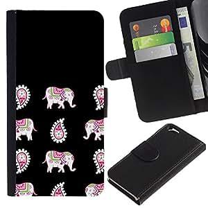 KingStore / Leather Etui en cuir / Apple Iphone 6 / India Negro Patrón de piel animal