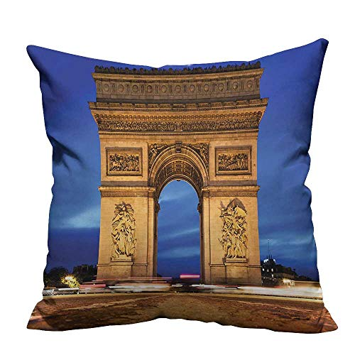 YouXianHome Super Soft Pillowcase Arc De Triomphe Paris France Night. View from Avenue Champs Elyse Resists Wrinkles(Double-Sided Printing) 13.5x19 inch