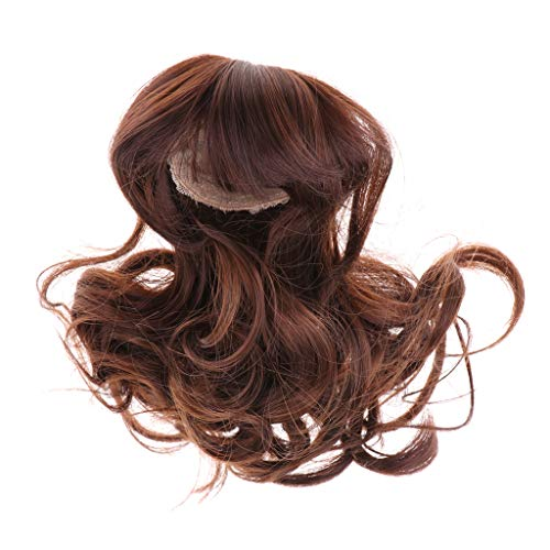 Prettyia 1/4 BJD Dolls Wig Hairpiece Full Wigs Curly Hair for Night Lolita BJD Dolls DIY Cosplay Hairpiece Supplies Accessory Coffee Color