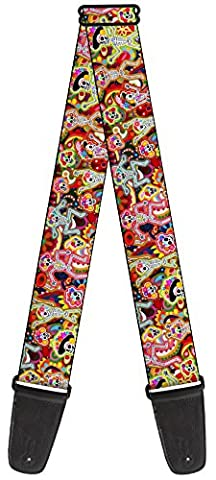 Thaneeya Sugar Skulls Nylon Guitar Strap - Colorful Glowing Dancing Skeleton Design (Hippie Acoustic Guitar)