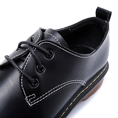 Smilun Girl¡¯s Derby Classic Lace-up Shoes Smooth Leather Flats Office Business Dress Shoes for Girl Black Size 6 B(M) US by Smilun (Image #4)