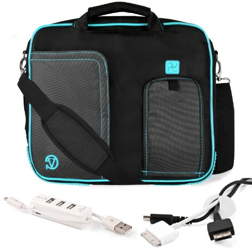 AQUA TRIM BLACK Pindar Durable Water-Resistant Nylon Protective Carrying Case Messenger Shoulder Bag For SONY VAIO T Series 13.3-Inch Touchscreen Ultrabook + White Cable Organizer + White 3 Port USB HUB with Micro USB Charger