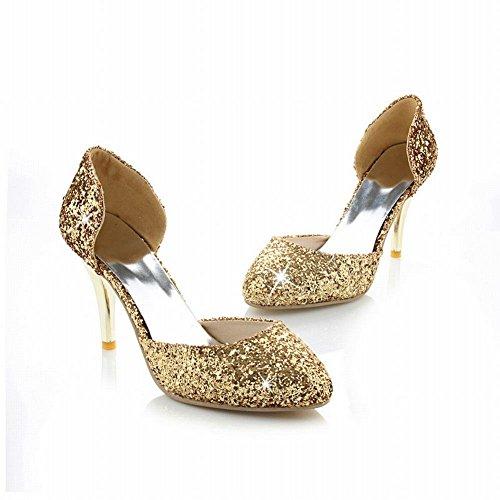 Dress Sexy High Women's Heel Fashion Chic Carolbar Shoes Stiletto Sequins Gold 4Uq58nw