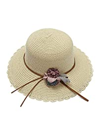 Straw hat Round Flat Straw Hat Beach Hat Summer Cap with Lace Female Hand Woven Beach Travel Outdoor Sun Hat Suitable for Outdoor Summer (Color : Beige, Size : One Size)