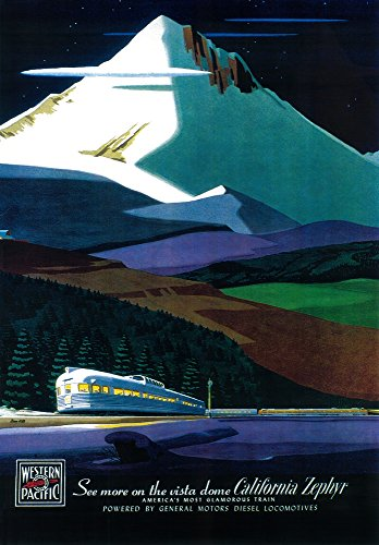 Western Pacific California Zephyr - Vintage Travel Advertisement (9x12 Art Print, Wall Decor Travel Poster) ()