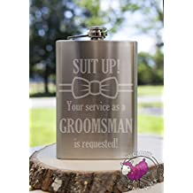 Suit Up Bow Tie GROOMSMAN Service Requested 8oz Etched Metal Flask Love Forever Birds Always Relationships Wedding Bridal Engaged Propose Married Brother Groom Friends Will You Be My Best Man Groomsmen Ask Idea