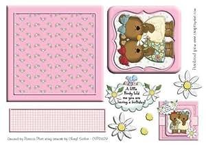 Birdy cumpleaños oso amigos cuadrado Topper con capas por Patricia Platt