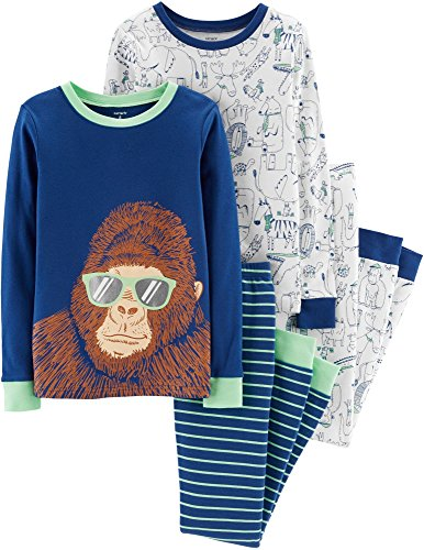 Carter's Boys 4 Pc Pajama PJs Sleep Play Sleep Snug fit Cotton Gorilla Animals
