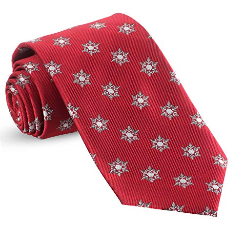 Christmas Ties For Men: Mens Woven Winter Snow Flakes Necktie Red Holiday Twill - Holiday Snowflake Red