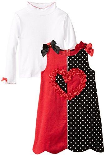 Bonnie Jean Little Girls' Colorblock Heart Appliqued Corduroy Jumper, Red, 4