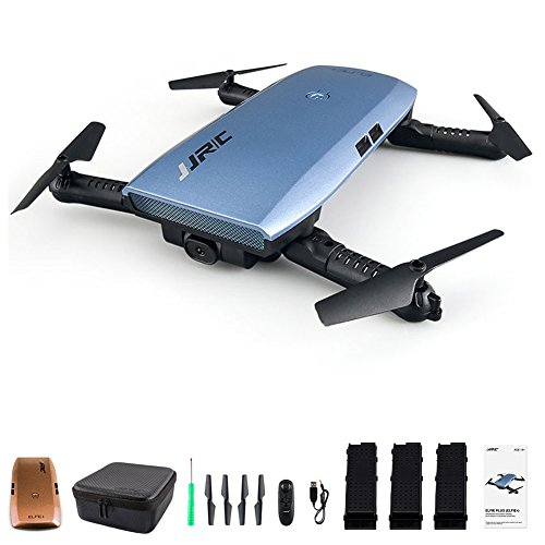 JJRC H47 Elfie WIFI Foldable Pocket FPV Drone 3 Batteries Mini Quadcopter with 720P Camera with H47 Shell (Blue, with 3 Batteries)