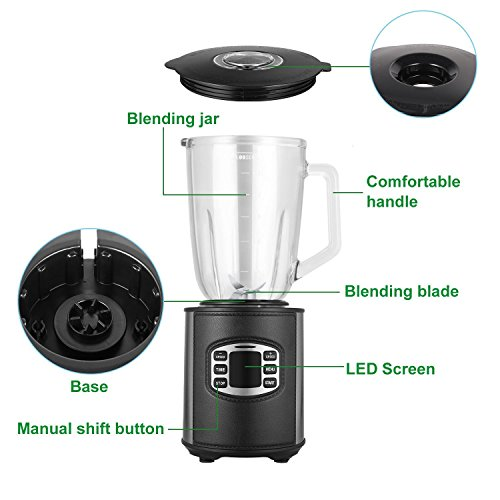 Utheing Smoothie Blender, 800W 5 Modes 50oz Stainless Steel, Fruit Mixer with Smart Timer Setting for Shakes and Smoothies Silver by Utheing (Image #5)