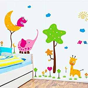 Animal Paradise Children's Room Cute Tree Flat Wall Sticker