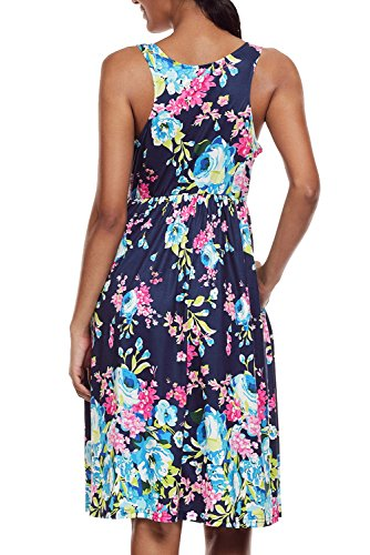 Cfanny - Vestido - Noche - Floral - Cuello redondo - Sin mangas - para mujer azul marino