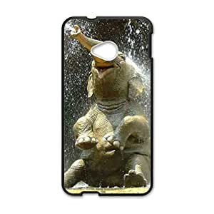 Cute Elephant Play Water Black HTC M7 case