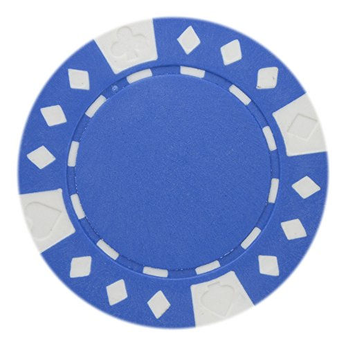 Composite Clay Poker Denominated Chips - Brybelly Diamond Suited Poker Chips Versatile 11.5-gram Clay Composite – Pack of 50 (Blue)