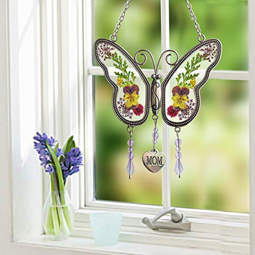 Chasgo Butterfly Decoration, Glass Mom Butterfly Suncatcher for Mom Birthday Gifts, Thansgiving Gifts