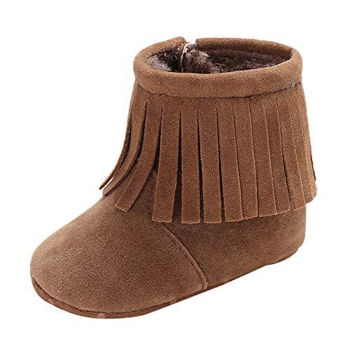 Birdfly Infant Newborn Baby Boys Girls Cashmere Winter Wrap Boots Tassel Prewalker Warm Shoes (6-12 Months, Brown) - Emu Baby Bootie
