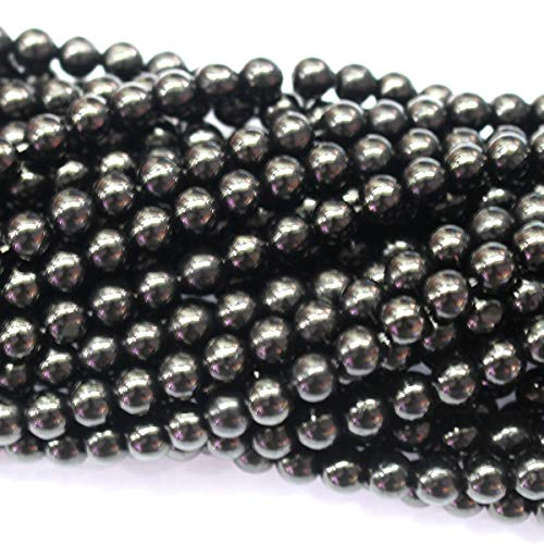 Beads Genuine Jet - Icokarl Genuine Jet 6mm Round Natural Gemstone Loose Beads Approxi 15.5 inch DIY Bracelet Necklace for Jewelry Making