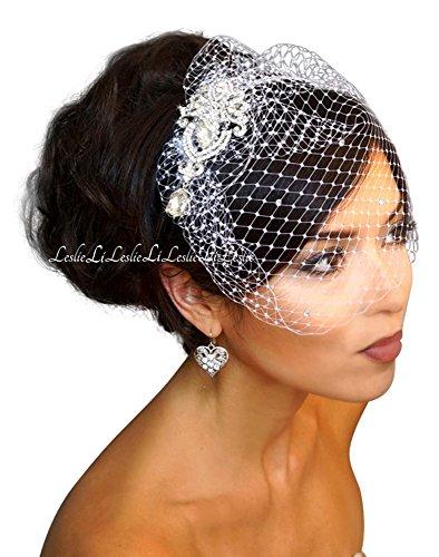Leslie Li Women's Crystal Chandelier Brooch & Crystal Bridal Birdcage Veil One Size Ivory 27-30843