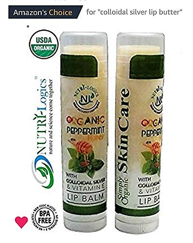 NUTRI-Logics Best - ORGANIC PEPPERMINT HONEY VANILLA BEAN LIP BALM, Vitamin E & Colloidal Silver, 2 Pack - 0.15 oz- Certified Cruelty Free, Non-GMO, Gluten Free, Natural SPF, BPA FREE- Made in USA