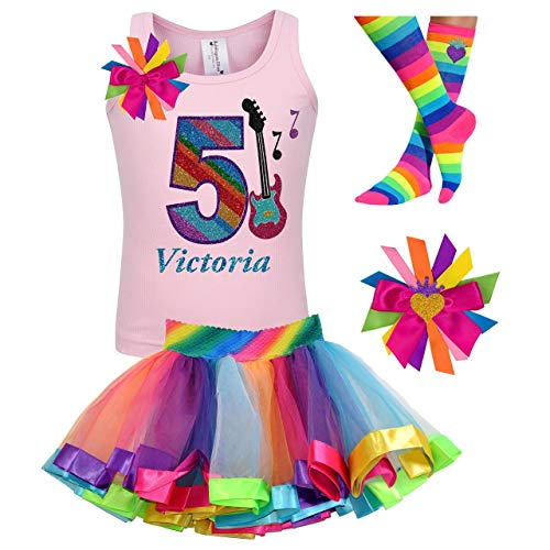 Girls Rock Star Guitar Shirt 5th Birthday Rainbow Tutu Rock N Roll Party Outfit 4PC Gift Set Personalized Name - Band Personalized Gift T-shirt