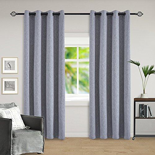sgofais Imitation Linen Blackout Curtains Bronze Grommet Top Curtains for Bedroom 52W x 84L Inch Grey 2 ()