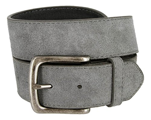 [Casual Jean Suede Leather Belt for Men (Gray, 40)] (Grey Belt Buckle)