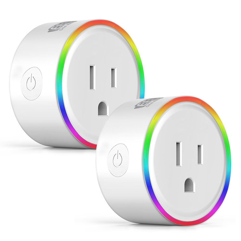 EEEKit 2-pack WiFi Smart Plug w/LED Night Light, Newest Version Outlet Works with Amazon Alexa Echo/Google Home/App and Voice Control Anywhere Anytime, Wireless Remote Control via Smartphone