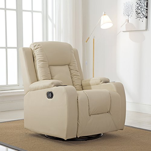 ComHoma Leather Recliner Modern Rocker Ergonomic Lounge 360 Degree Swivel Single Sofa Seat with Drink Holders Living Room Chair(White)