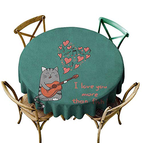 StarsART Fabric Tablecloths for KitchenI Love You More,Cartoon Singing Cat with Guitar More Than Fish Song Music Notes and Hearts, Multicolor D50,Table Cover]()