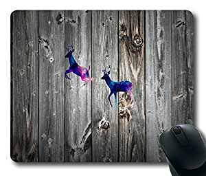 Beautiful Deer On Wood Fashion Masterpiece Limited Design Oblong Mouse Pad by Cases & Mousepads by runtopwell