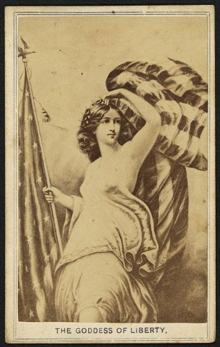 Photo: Goddess of Liberty,Lady,holding United States Flag,allegory,drawing,America,1860 (Lady Liberty Flag)